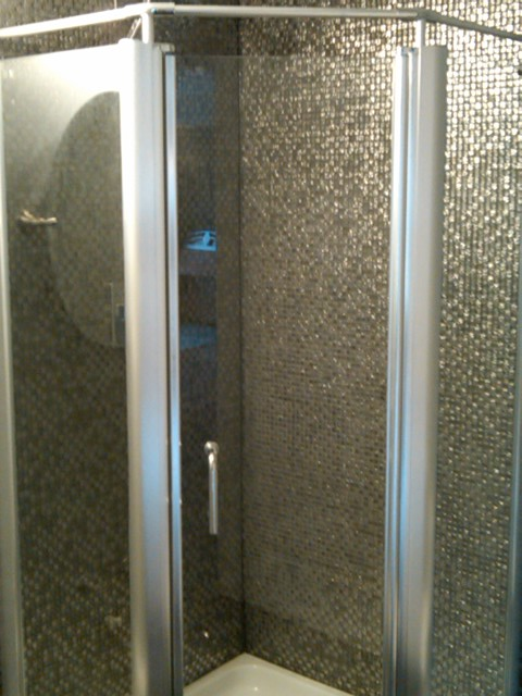 CustomBuilt shower with glass  tile